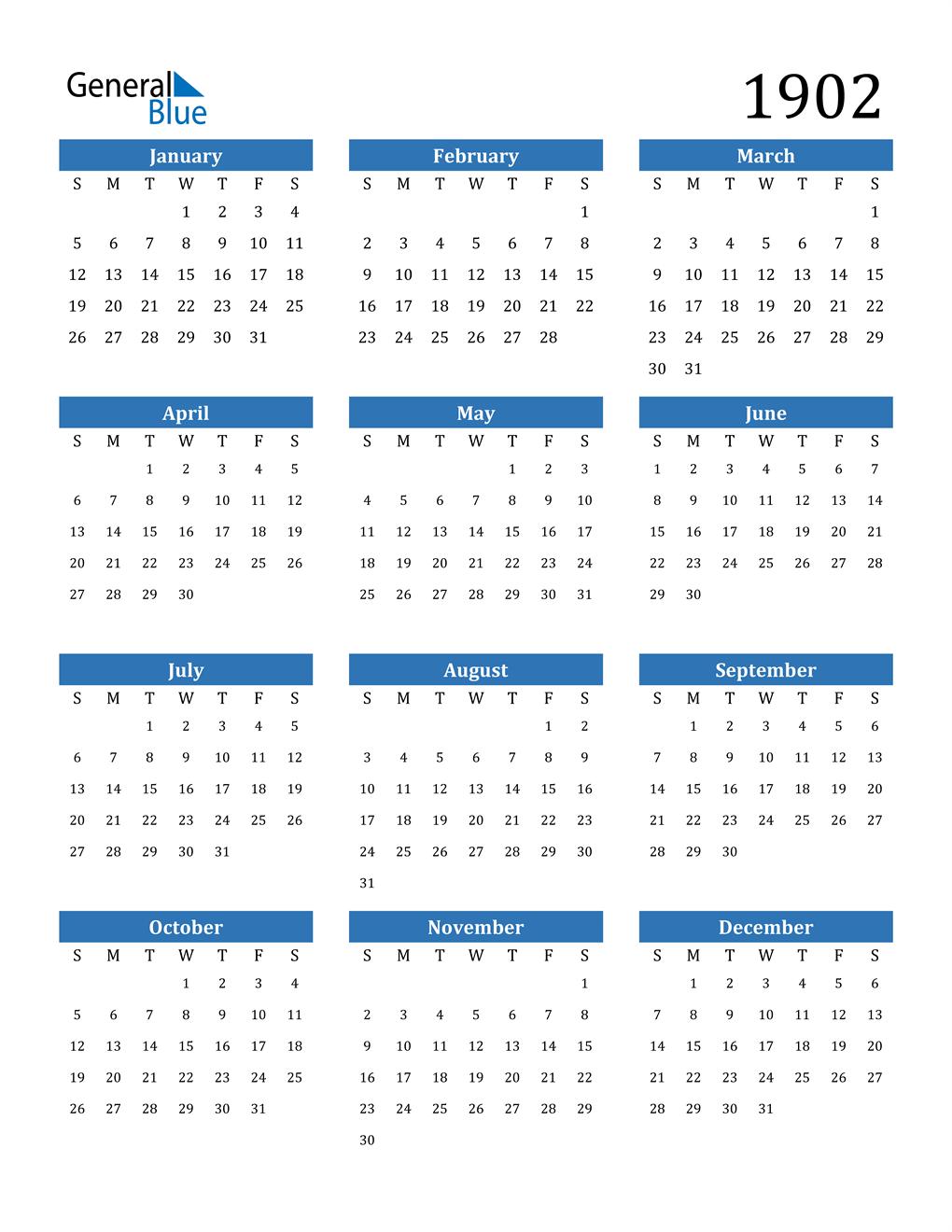 1902 Calendar (PDF, Word, Excel)