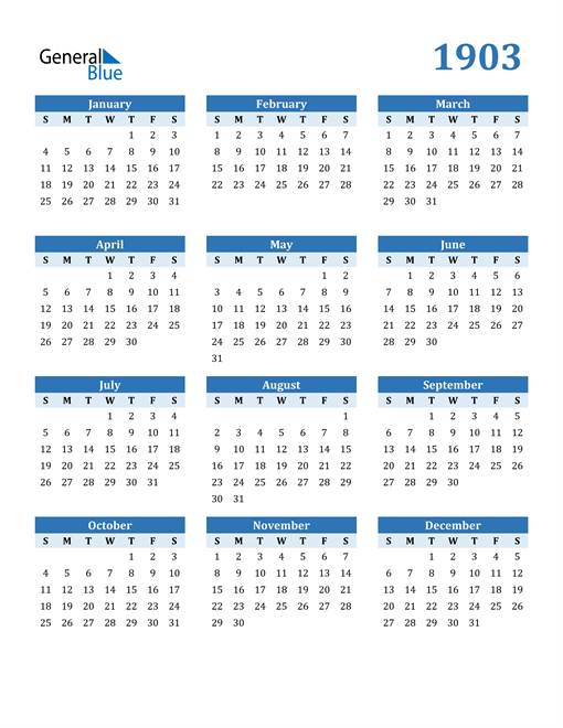 Image of 1903 1903 Calendar Blue with No Borders