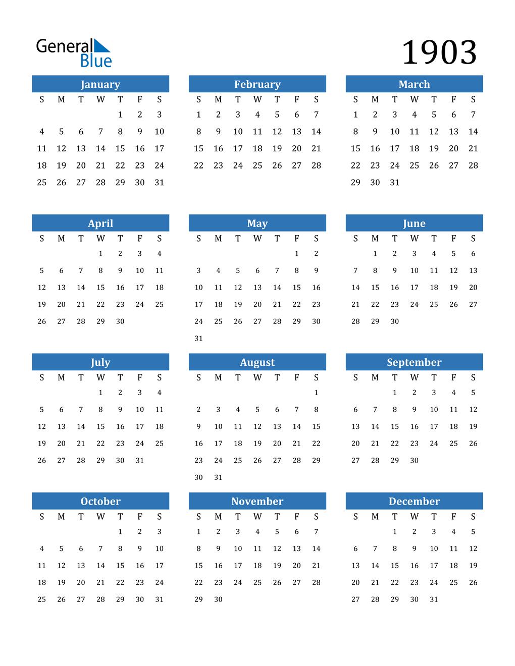 1903 Calendar (PDF, Word, Excel)