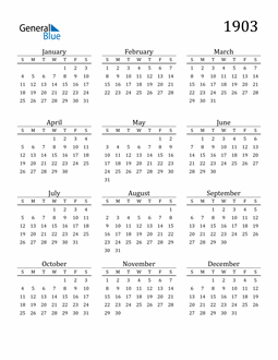Image of 1903 1903 Printable Calendar Classic