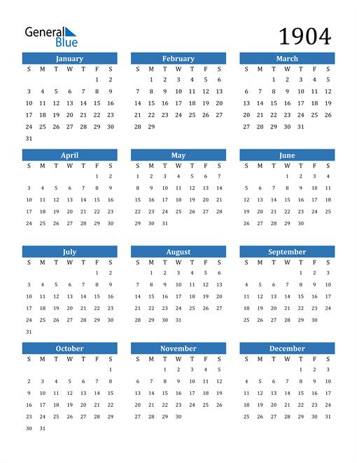 Image of 1904 1904 Calendar