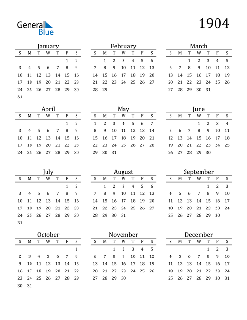 Image of 1904 1904 Printable Calendar Classic