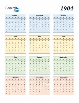 Image of 1904 1904 Calendar with Color
