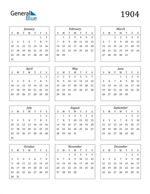 Image of 1904 1904 Calendar Streamlined