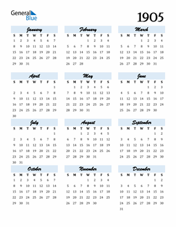 Image of 1905 1905 Calendar Cool and Funky