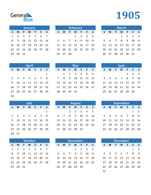 Image of 1905 1905 Calendar Blue with No Borders