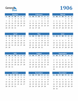 Image of 1906 1906 Calendar Blue with No Borders