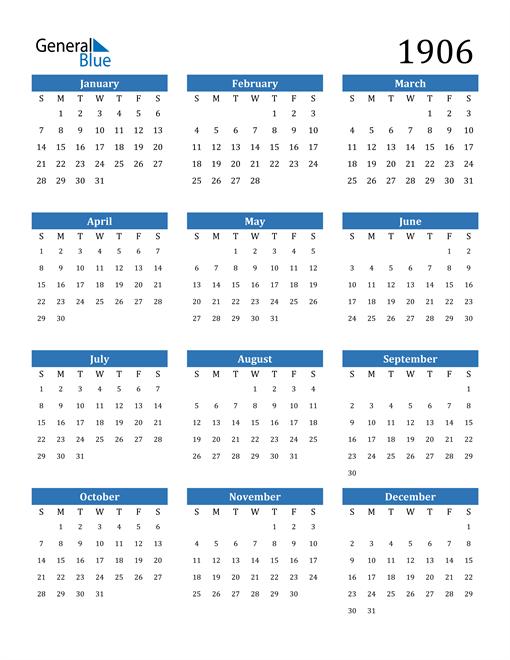 Image of 1906 1906 Calendar