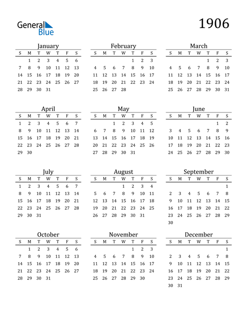 Image of 1906 1906 Printable Calendar Classic