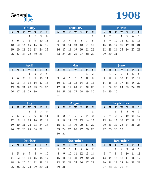Image of 1908 1908 Calendar Blue with No Borders
