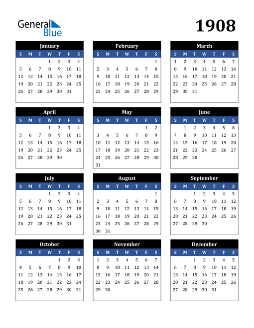 Image of 1908 1908 Calendar Stylish Dark Blue and Black