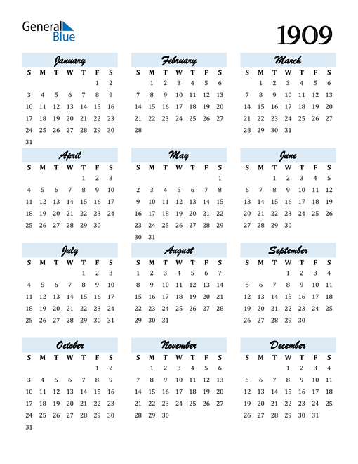 Image of 1909 1909 Calendar Cool and Funky