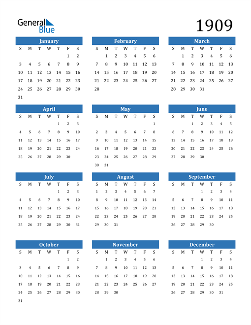 Image of 1909 1909 Calendar