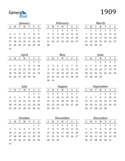Image of 1909 1909 Printable Calendar Classic