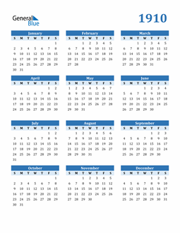 Image of 1910 1910 Calendar Blue with No Borders