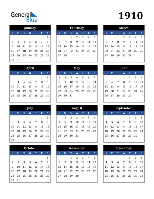 Image of 1910 1910 Calendar Stylish Dark Blue and Black