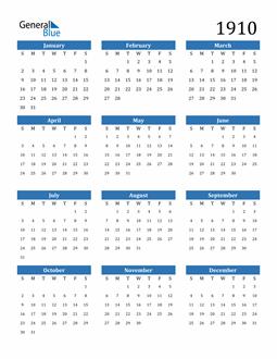 Image of 1910 1910 Calendar