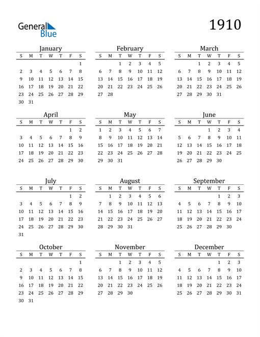 Image of 1910 1910 Printable Calendar Classic