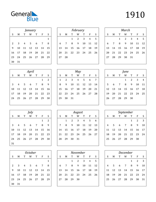 Image of 1910 1910 Calendar Streamlined