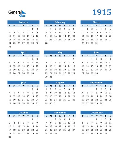 Image of 1915 1915 Calendar Blue with No Borders