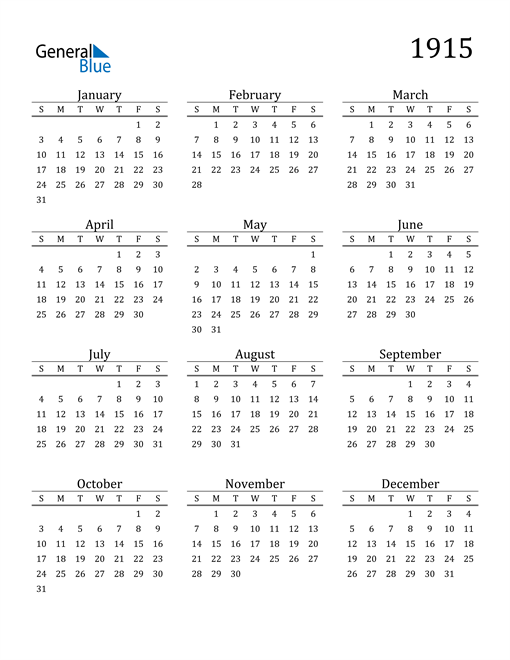 Image of 1915 1915 Printable Calendar Classic