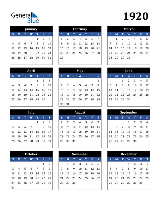 Image of 1920 1920 Calendar Stylish Dark Blue and Black