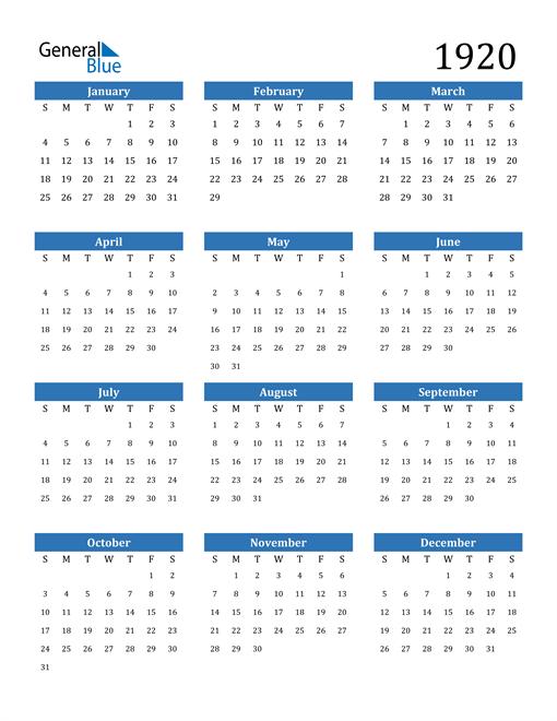 Image of 1920 1920 Calendar