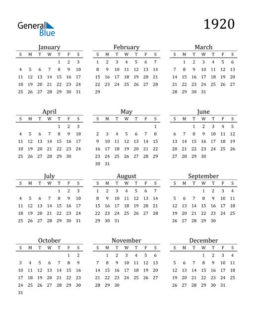 Image of 1920 1920 Printable Calendar Classic
