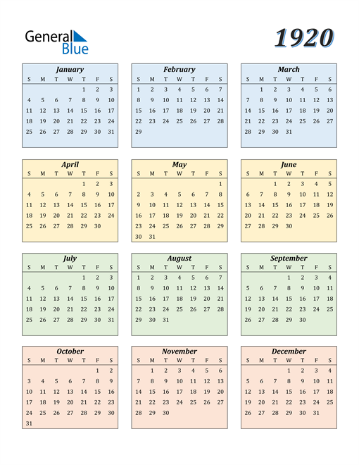 Image of 1920 1920 Calendar with Color