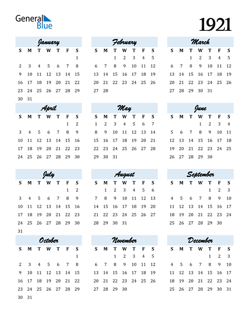 Image of 1921 1921 Calendar Cool and Funky