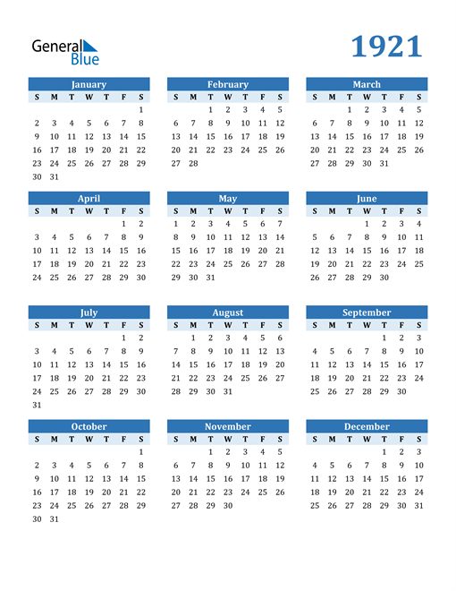 Image of 1921 1921 Calendar Blue with No Borders