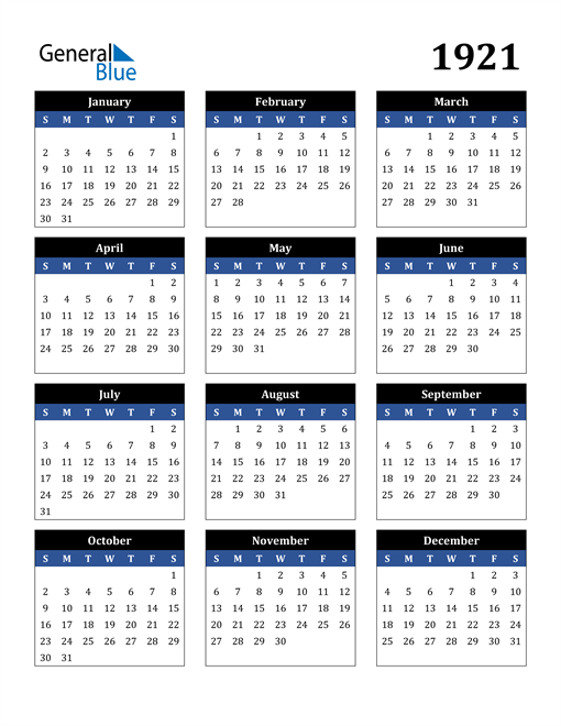 Image of 1921 1921 Calendar Stylish Dark Blue and Black