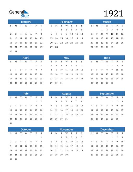Image of 1921 1921 Calendar