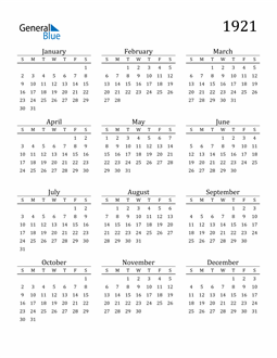 Image of 1921 1921 Printable Calendar Classic