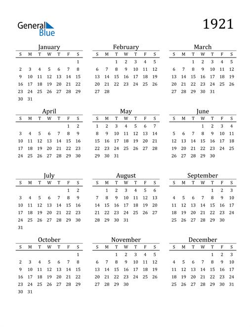 Image of 1921 1921 Printable Calendar Classic