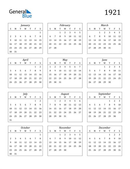 Image of 1921 1921 Calendar Streamlined