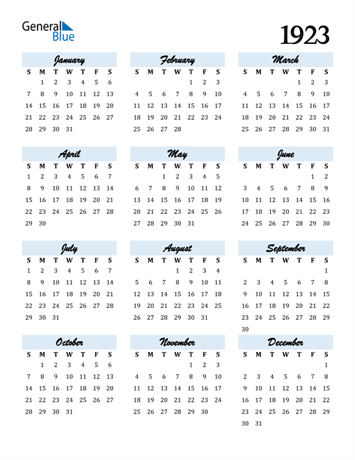 Image of 1923 1923 Calendar Cool and Funky
