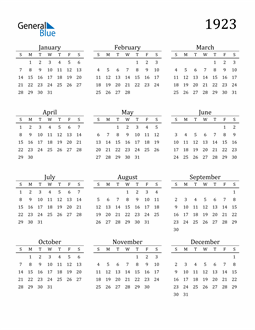 Image of 1923 1923 Printable Calendar Classic