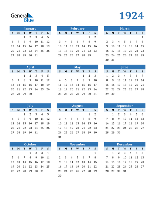 Image of 1924 1924 Calendar Blue with No Borders
