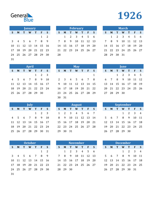 Image of 1926 1926 Calendar Blue with No Borders