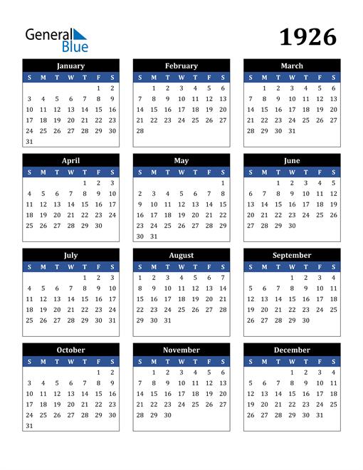 Image of 1926 1926 Calendar Stylish Dark Blue and Black