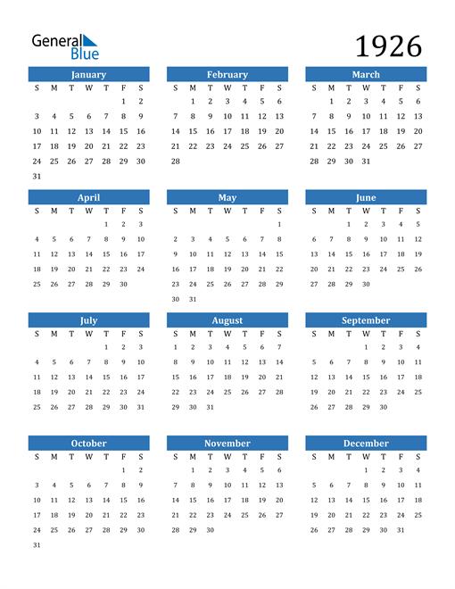 Image of 1926 1926 Calendar