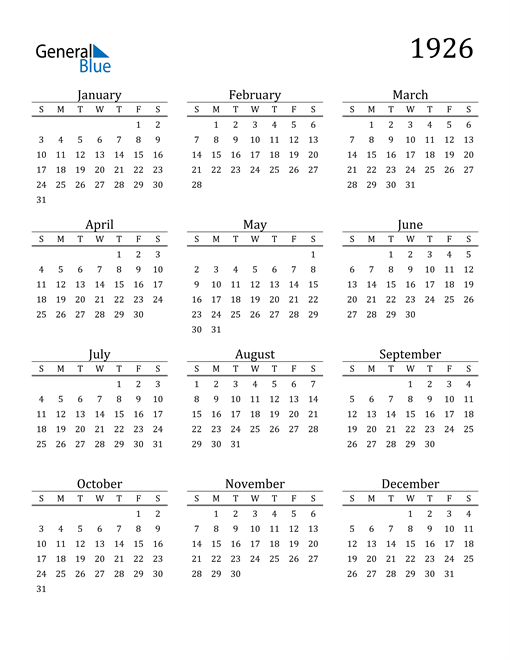 Image of 1926 1926 Printable Calendar Classic