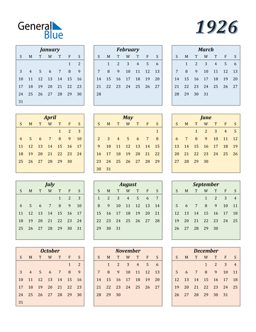 Image of 1926 1926 Calendar with Color