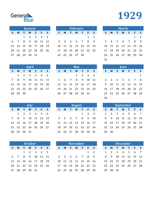 Image of 1929 1929 Calendar Blue with No Borders