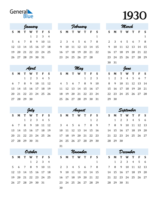 Image of 1930 1930 Calendar Cool and Funky