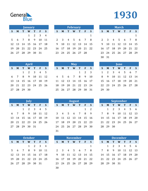 Image of 1930 1930 Calendar Blue with No Borders