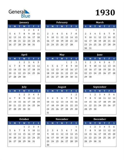 Image of 1930 1930 Calendar Stylish Dark Blue and Black