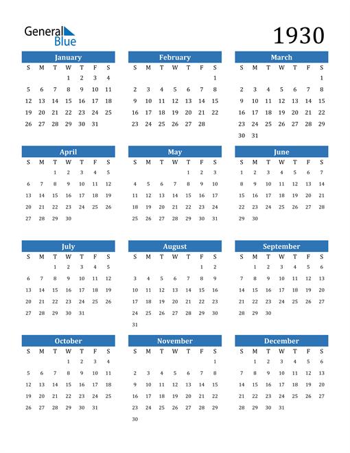 Image of 1930 1930 Calendar
