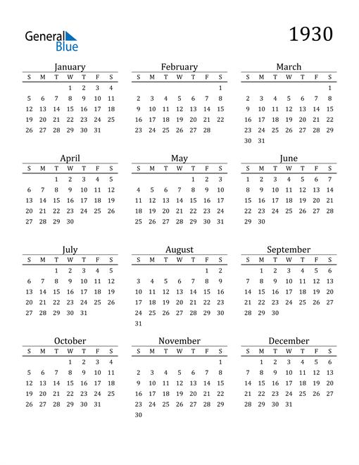 Image of 1930 1930 Printable Calendar Classic